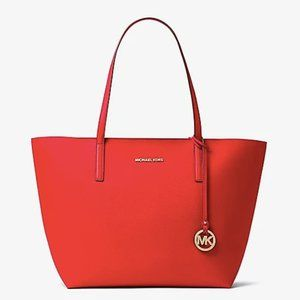 MICHAEL KORS Hayley Large Coated Canvas Red Tote